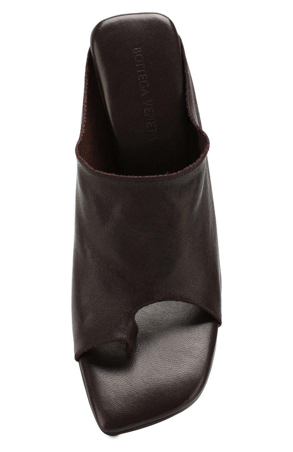 Женские кожаные мюли BOTTEGA VENETA коричневого цвета, арт. 618760/VBS00 | Фото 5