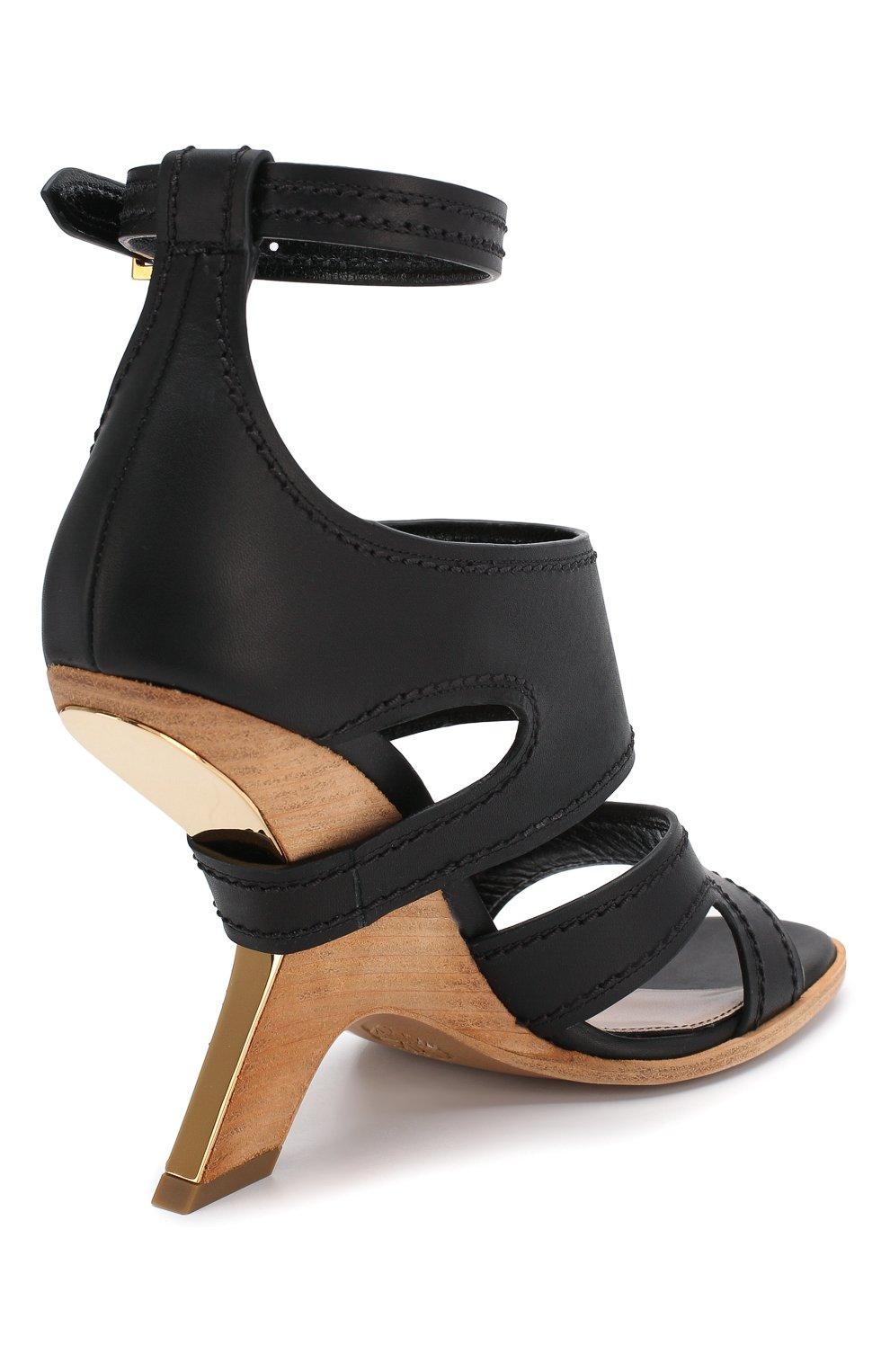 Женские кожаные босоножки ALEXANDER MCQUEEN черного цвета, арт. 621839/WHXZ7 | Фото 4