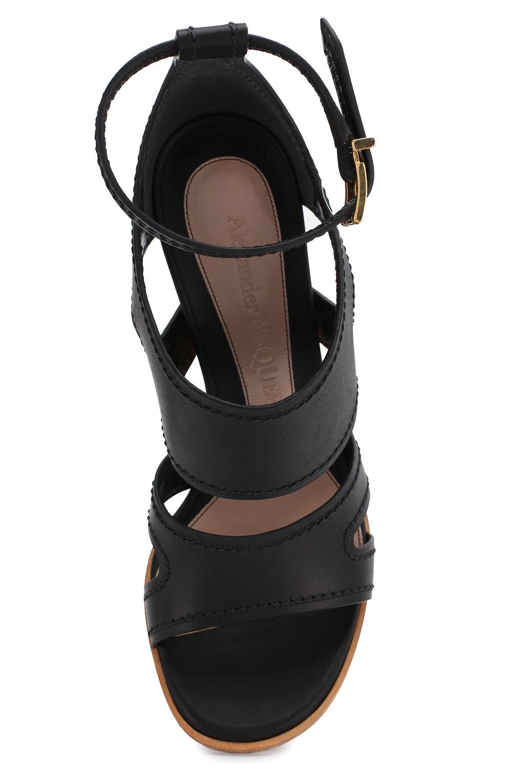 Женские кожаные босоножки ALEXANDER MCQUEEN черного цвета, арт. 621839/WHXZ7 | Фото 5