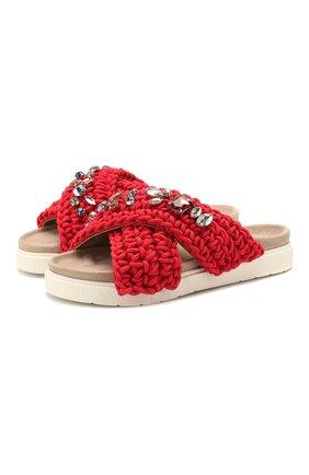 Женские текстильные шлепанцы INUIKII красного цвета, арт. 70104-6 | Фото 1