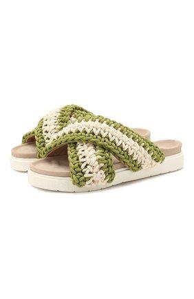 Женские текстильные шлепанцы INUIKII зеленого цвета, арт. 70104-5 | Фото 1