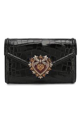 Женская поясная сумка devotion из кожи аллигатора DOLCE & GABBANA черного цвета, арт. BB6706/B2DF0/AMIS | Фото 1