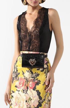 Женская поясная сумка devotion из кожи аллигатора DOLCE & GABBANA черного цвета, арт. BB6706/B2DF0/AMIS | Фото 2