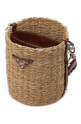 Женская сумка bucket PRADA бежевого цвета, арт. 1BE052-2DJD-F0A5T-OOO | Фото 4