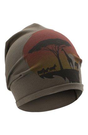 Детского хлопковая шапка CATYA хаки цвета, арт. 014088 | Фото 1