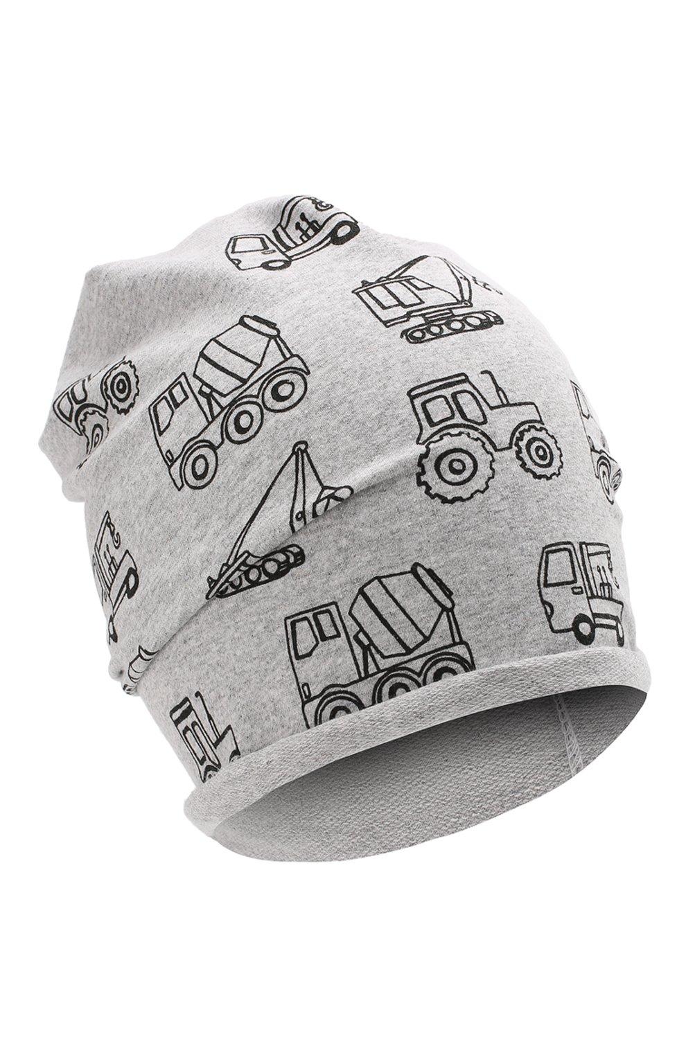Детского хлопковая шапка CATYA серого цвета, арт. 014090   Фото 1