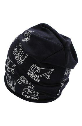 Детского хлопковая шапка CATYA темно-синего цвета, арт. 014090 | Фото 2