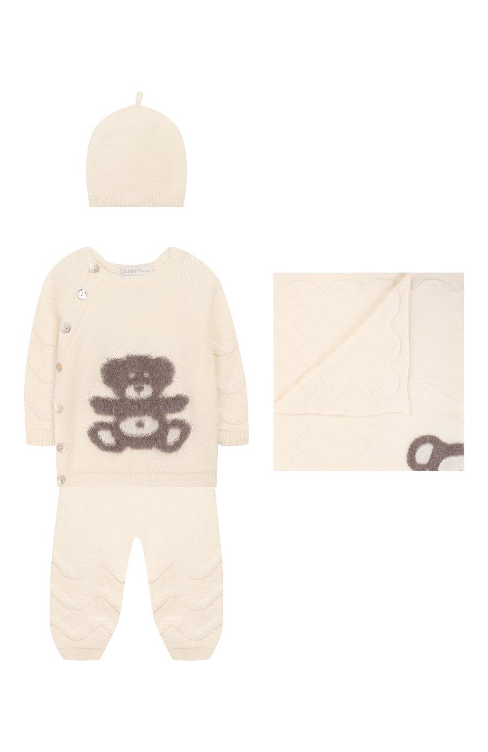 Детского комплект из 4-х предметов CHEPE белого цвета, арт. 371630 | Фото 1