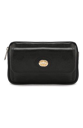 Мужская кожаная поясная сумка GUCCI черного цвета, арт. 598080/1GZ0X | Фото 1