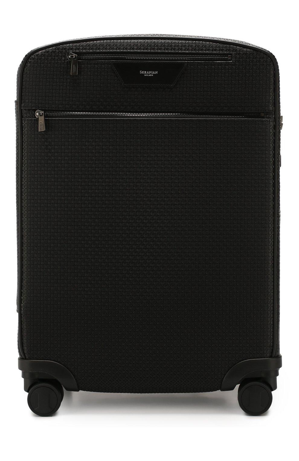 Мужской дорожный чемодан SERAPIAN черного цвета, арт. SSTEPMTR7064M55B | Фото 1