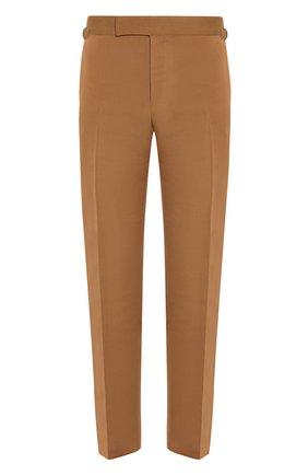 Мужской брюки из смеси хлопка и шелка TOM FORD коричневого цвета, арт. 774R28/610043   Фото 1