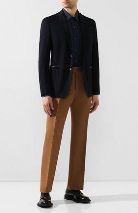 Мужской брюки из смеси хлопка и шелка TOM FORD коричневого цвета, арт. 774R28/610043   Фото 2
