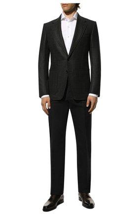 Мужской брюки из смеси хлопка и шелка TOM FORD темно-синего цвета, арт. 774R30/610043   Фото 2