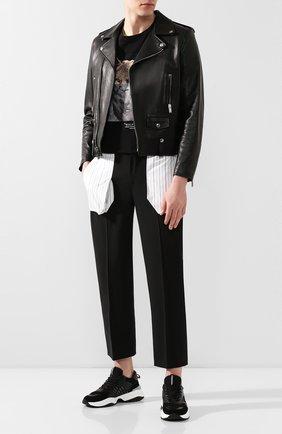 Мужской брюки NEIL BARRETT черного цвета, арт. BPA774C/N116C | Фото 2