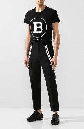 Мужской брюки NEIL BARRETT черного цвета, арт. BPA776A/N076 | Фото 2