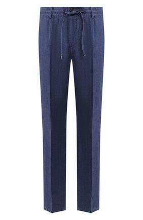 Мужской льняные брюки CORTIGIANI синего цвета, арт. 813601/0000/2382 | Фото 1