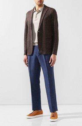 Мужской льняные брюки CORTIGIANI синего цвета, арт. 813601/0000/2382 | Фото 2