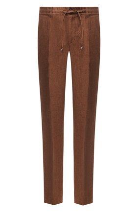 Мужской льняные брюки CORTIGIANI коричневого цвета, арт. 813601/0000/2382 | Фото 1
