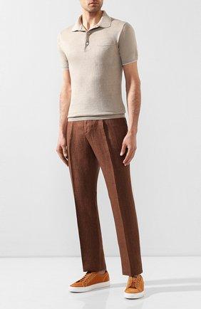 Мужской льняные брюки CORTIGIANI коричневого цвета, арт. 813601/0000/2382 | Фото 2