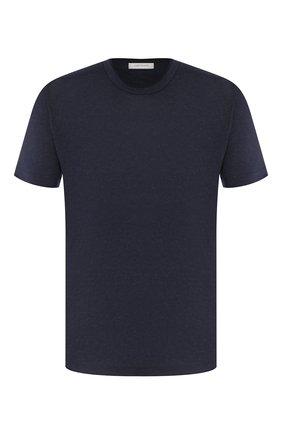 Мужская льняная футболка CORTIGIANI темно-синего цвета, арт. 816660/0000 | Фото 1
