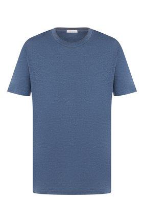 Мужская льняная футболка CORTIGIANI голубого цвета, арт. 816660/0000 | Фото 1