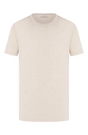 Мужская льняная футболка CORTIGIANI бежевого цвета, арт. 816660/0000 | Фото 1