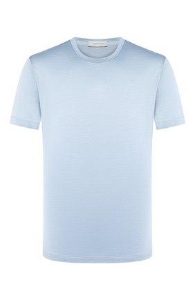 Мужская шелковая футболка CORTIGIANI голубого цвета, арт. 816650/0000 | Фото 1