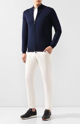 Мужские хлопковые брюки ANDREA CAMPAGNA белого цвета, арт. SPIAGGIA/AN1100 | Фото 2 (Материал внешний: Хлопок; Длина (брюки, джинсы): Стандартные; Мужское Кросс-КТ: Брюки-трикотаж; Случай: Повседневный)