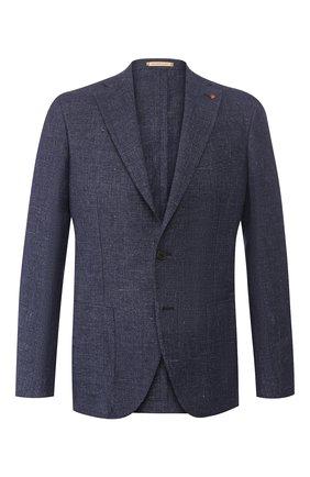 Мужской пиджак из смеси льна и хлопка SARTORIA LATORRE темно-синего цвета, арт. EF74 U70131 | Фото 1