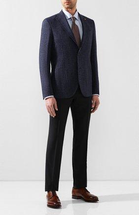 Мужской пиджак из смеси льна и хлопка SARTORIA LATORRE темно-синего цвета, арт. EF74 U70131 | Фото 2