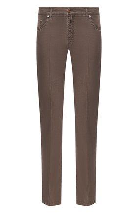Мужской брюки из смеси льна и хлопка KITON коричневого цвета, арт. UPNJSJ07S41   Фото 1