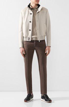 Мужской брюки из смеси льна и хлопка KITON коричневого цвета, арт. UPNJSJ07S41   Фото 2