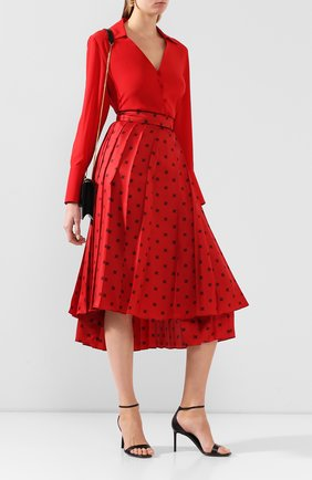 Женская шелковая юбка FENDI красного цвета, арт. FQ7132 A9DQ | Фото 2