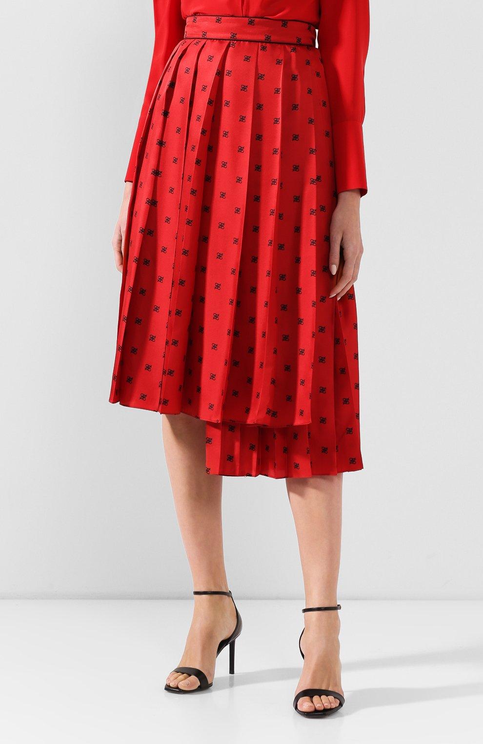 Женская шелковая юбка FENDI красного цвета, арт. FQ7132 A9DQ | Фото 3