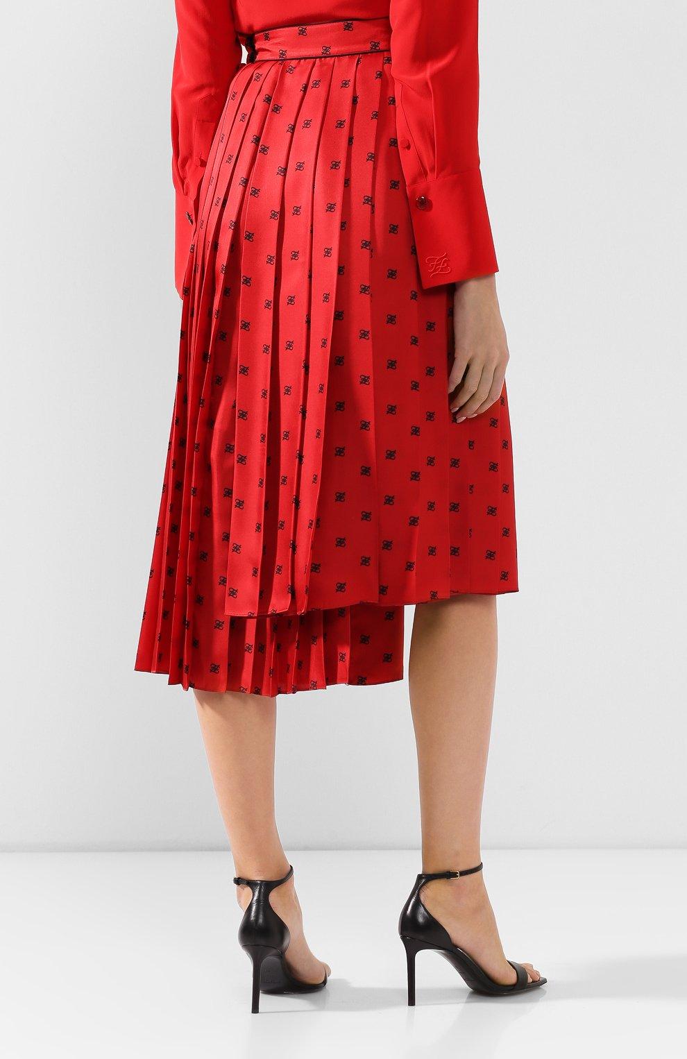 Женская шелковая юбка FENDI красного цвета, арт. FQ7132 A9DQ | Фото 4