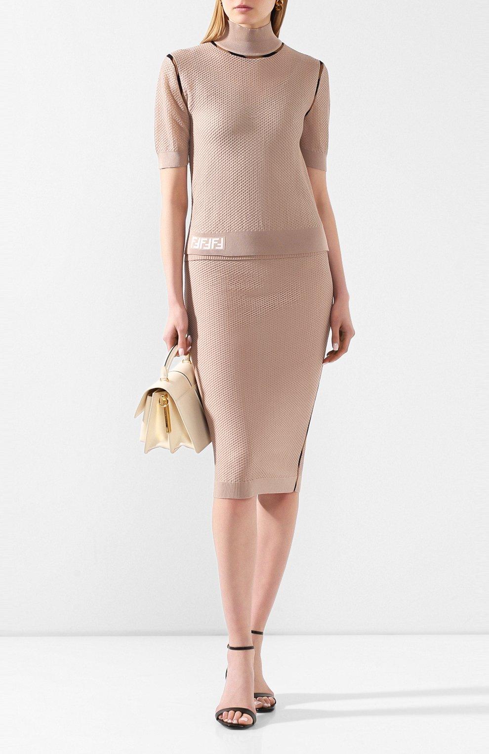 Женская юбка FENDI бежевого цвета, арт. FZQ599 AAVH   Фото 2