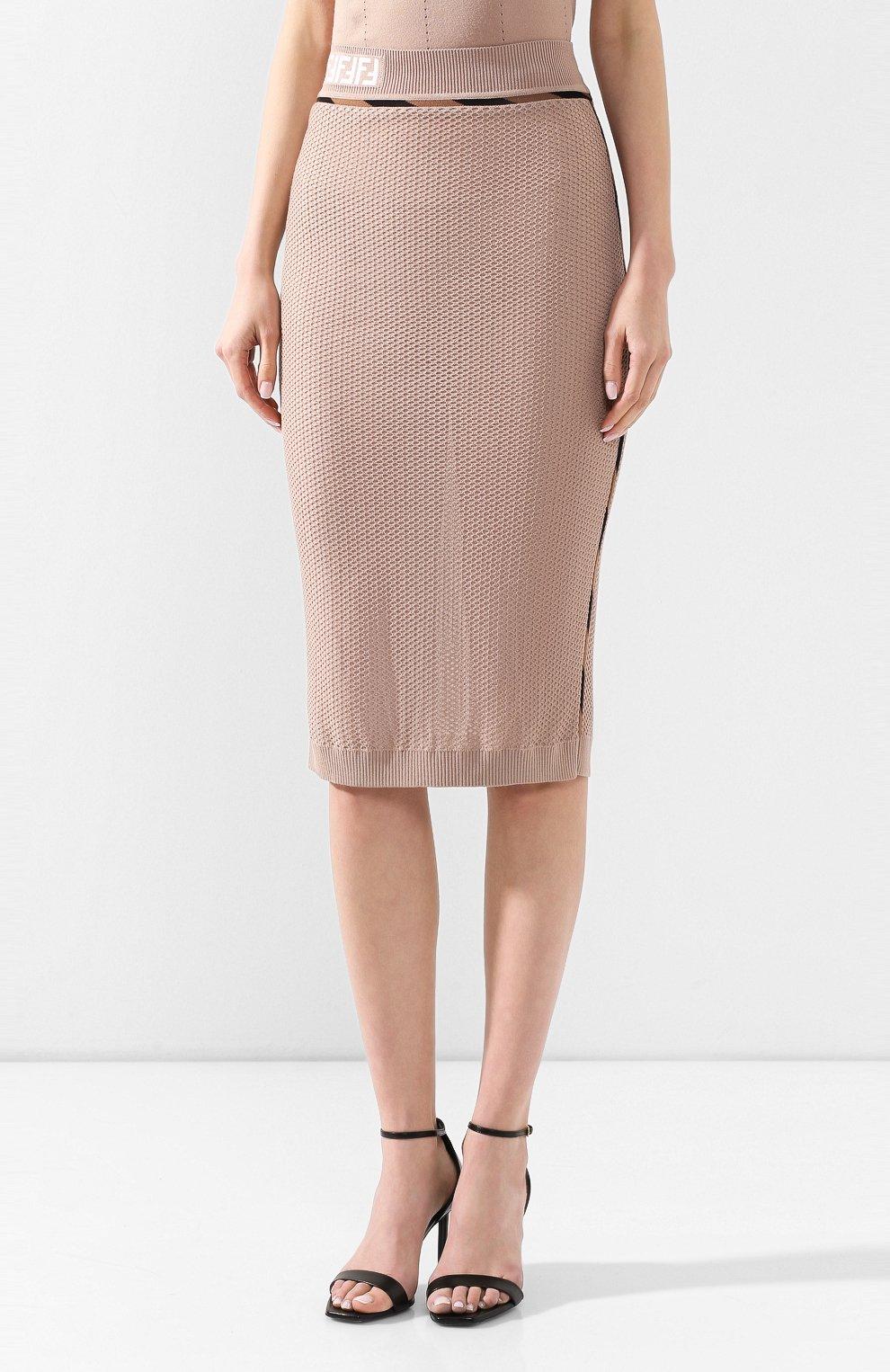 Женская юбка FENDI бежевого цвета, арт. FZQ599 AAVH   Фото 3
