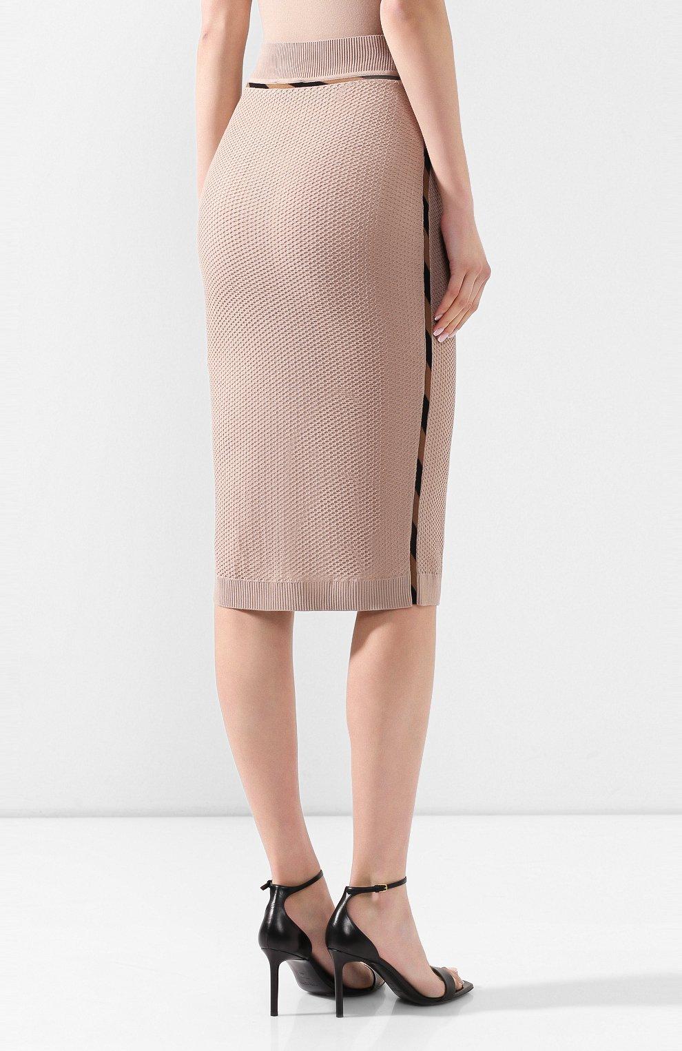 Женская юбка FENDI бежевого цвета, арт. FZQ599 AAVH   Фото 4