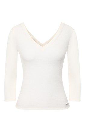 Женский пуловер из смеси льна и хлопка IL BORGO CASHMERE белого цвета, арт. 55-1045G0 | Фото 1 (Женское Кросс-КТ: Пуловер-одежда; Рукава: Длинные, 3/4; Длина (для топов): Стандартные; Материал внешний: Хлопок, Лен; Стили: Кэжуэл, Минимализм, Классический)