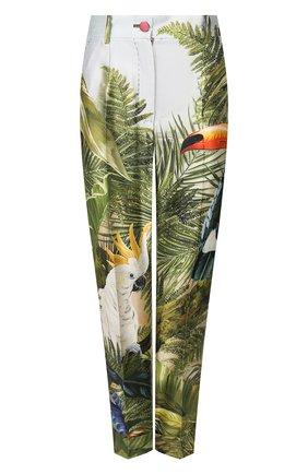 Женские шелковые брюки DOLCE & GABBANA зеленого цвета, арт. FTBVMT/GDU49 | Фото 1