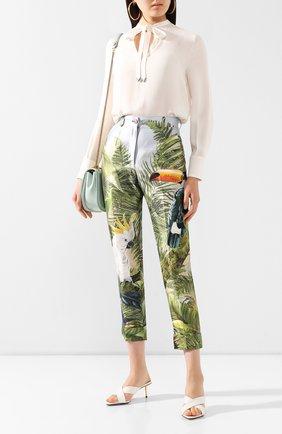 Женские шелковые брюки DOLCE & GABBANA зеленого цвета, арт. FTBVMT/GDU49 | Фото 2