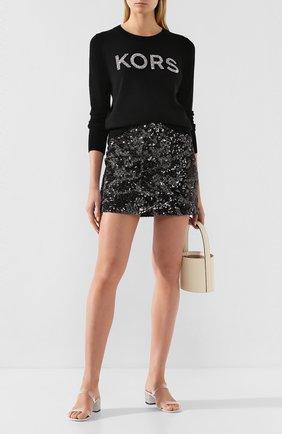 Женская юбка с пайетками MICHAEL MICHAEL KORS черного цвета, арт. MH97F2XD0Z   Фото 2