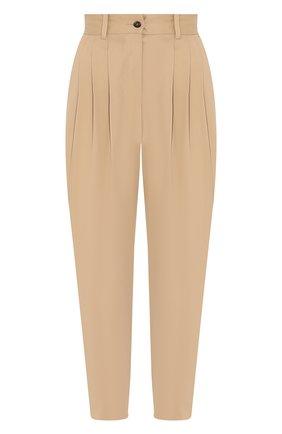 Женские хлопковые брюки DOLCE & GABBANA бежевого цвета, арт. FTBVBT/FUFJ9 | Фото 1