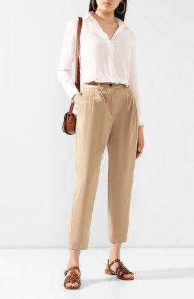Женские хлопковые брюки DOLCE & GABBANA бежевого цвета, арт. FTBVBT/FUFJ9 | Фото 2