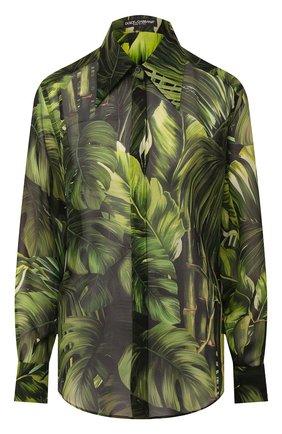 Женская шелковая рубашка DOLCE & GABBANA зеленого цвета, арт. F5N27T/IS1DK | Фото 1