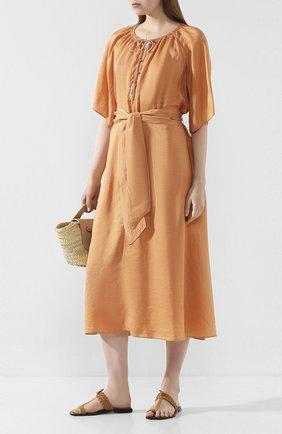 Женское шелковое платье FORTE_FORTE оранжевого цвета, арт. 7284 | Фото 2