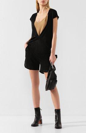 Женская футболка из вискозы RICK OWENS черного цвета, арт. R020S1250/JJ   Фото 2
