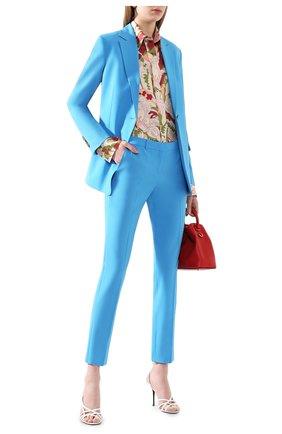 Женские шерстяные брюки BOSS бирюзового цвета, арт. 50423906 | Фото 2