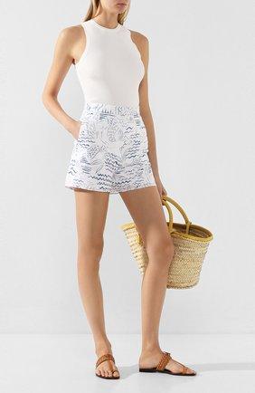 Женские хлопковые шорты KENZO голубого цвета, арт. FA52SH05057A   Фото 2 (Материал внешний: Хлопок; Длина Ж (юбки, платья, шорты): Мини; Материал подклада: Хлопок; Стили: Кэжуэл; Женское Кросс-КТ: Шорты-одежда)