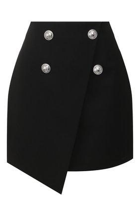 Женская шерстяная юбка BALMAIN черного цвета, арт. TF04059/167L | Фото 1